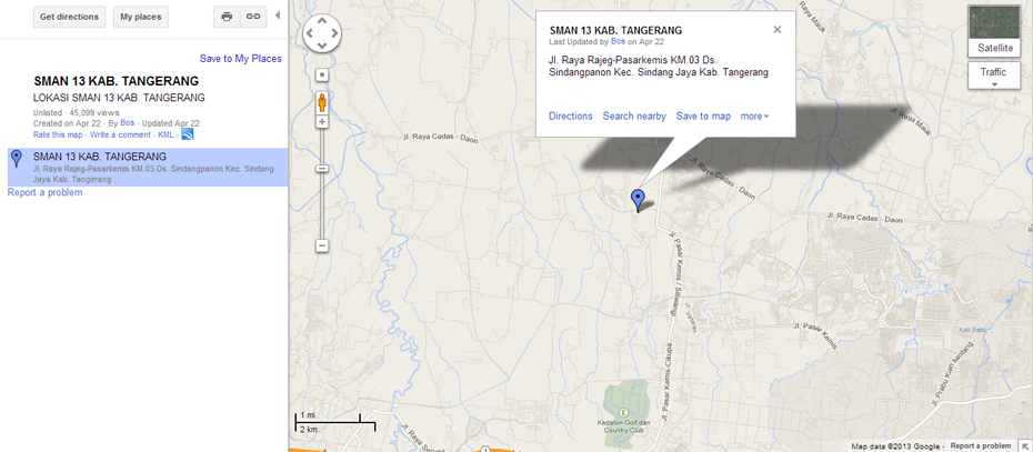 Peta SMAN 13 Kabupaten Tangerang